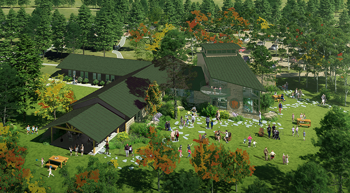 Computer rendering of remodeled lodge and new nature center